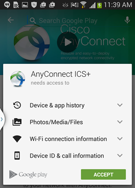 agree to let AnyConnect access other applications