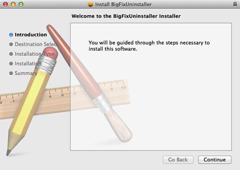 the BigFix uninstaller welcome screen