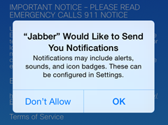 "The following message appears ""'Jabber' Would Like to Send You Notifications."" Tap OK."
