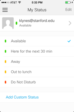 "Choose your status message, which includes ""Available,"" ""Away,"" or ""Do Not Disturb."" You may also create your own custom status by tapping ""Add Custom Status."""