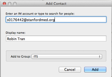 Enter a display name (optional), or add the contact name to a group (optional) and click Add.