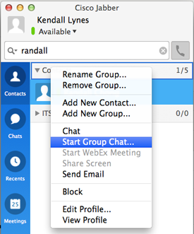 To invite everyone in a Contacts list group to a chat, control+click the group name in your contact list and click Start Group Chat.