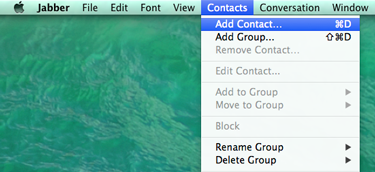 From the Jabber application menu, click Contacts > Add Contact. The Add Contact window opens.