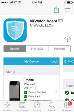 download the AirWatch application