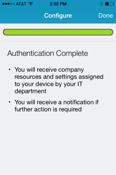authentication successful message
