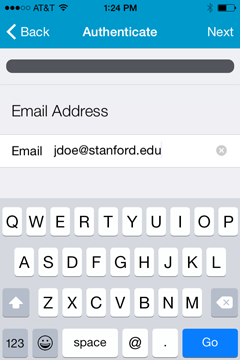 Enter your email address and tap Go.