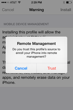 "The message ""Remote Management"" will pop up. Tap Trust."