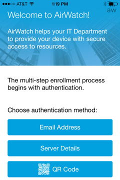 At the welcome screen, tap Email Address for your authentication method.