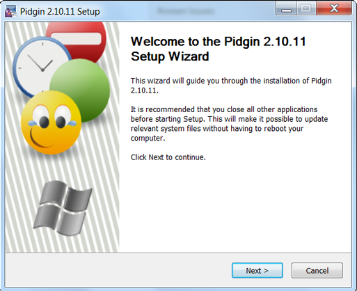 Welcome to Pidgin Setup wizard screen
