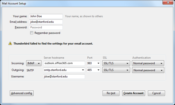 enter settings for your mail account