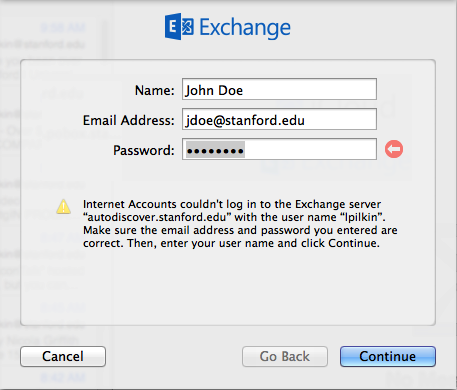 message saying you could not log in to Exchange server