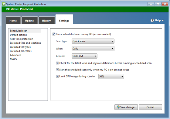 SCEP settings window