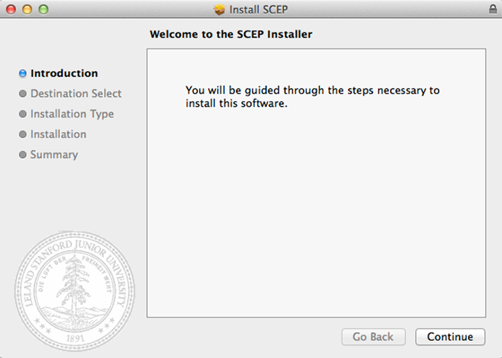 SCEP installer welcome page