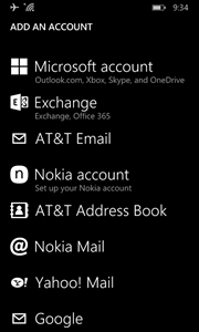 choose to set up and Exchange, Office 365 account
