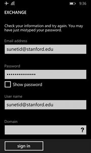 sign in again with incorrect password