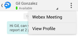 The chat menu has options to join a webex meeting or view the profile of the person with whom you're chatting