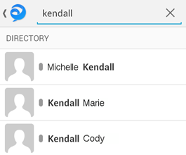 Type in the name of the person you wish to contact in the search bar. This method will search both your list of known contacts and your work directory.