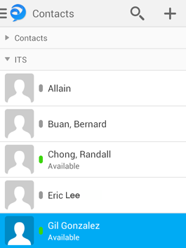 To start a chat, go to the Contacts screen and tap a contact's name.