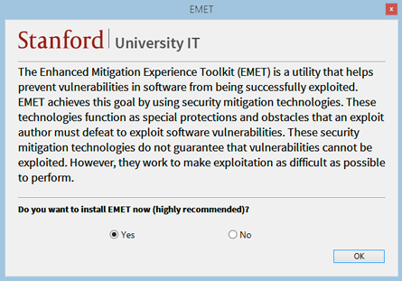 """Do you want to install EMET now (highly recommended)?"