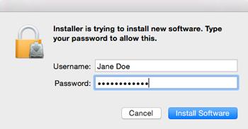 Click install software