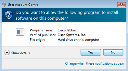 Do you want the following program to install software on this computer? Click Yes to install Jabber.