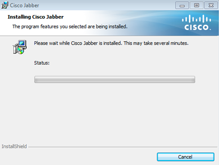 Please wait while Cisco Jabber is installed. This may take several minutes.