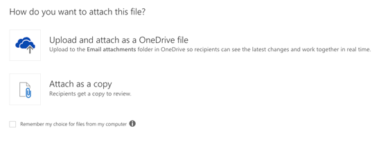 Click Upload and attach as a OneDrive file