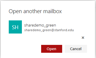 enter the email address of the shared folder