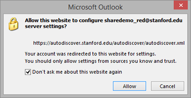 message to allow autodiscover to configure settings