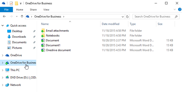 Click OneDrive for Business