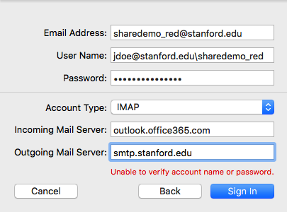 add shared email account information