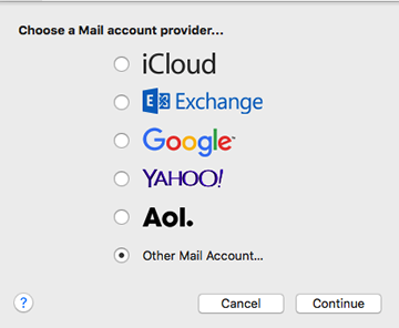 choose Other Mail Account for mail account provider