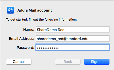 add the Shared Email account