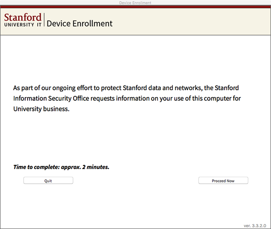 first screen of the enrollment app explaining purpose of questionaire
