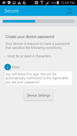 create your device password
