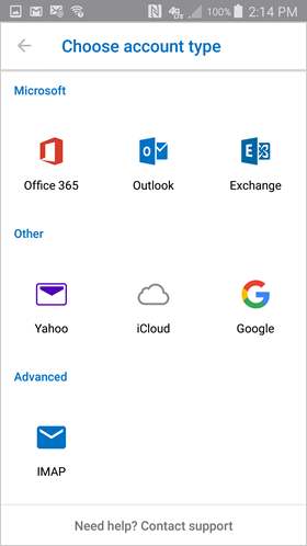 choose Office 365 as the account type