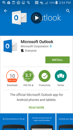 install Outlook app for Android