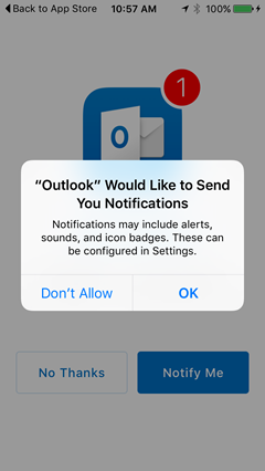 allow Outlook to send you notifications