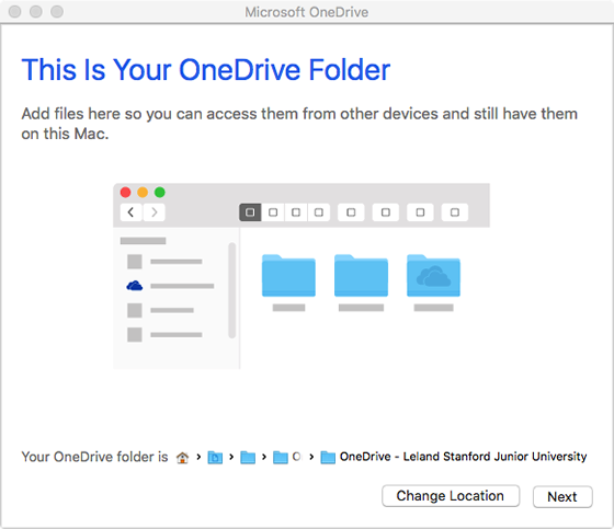 change location of OneDrive folder or continue