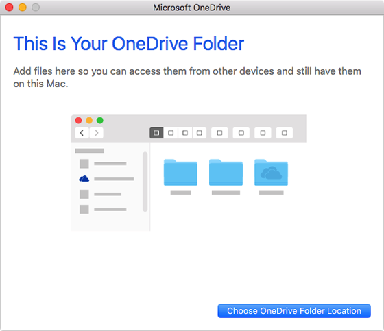 prompt to choose a folder for OneDrive files