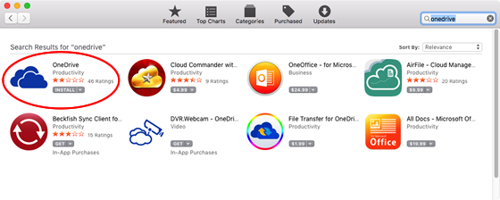 install OneDrive from Mac app store