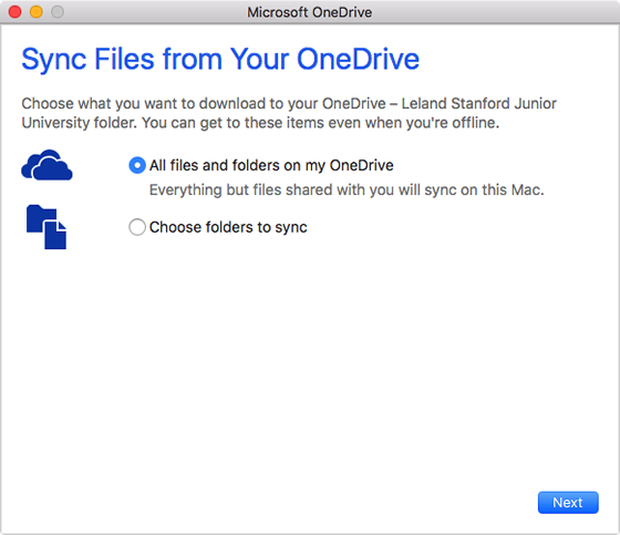 choose files to sync to OneDrive