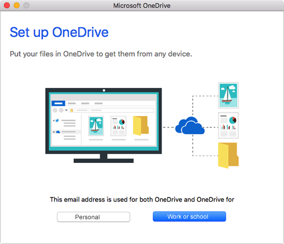 select OneDrive for work or school