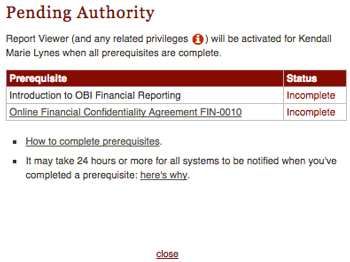 Pending Authority screen