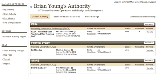 Brian Young's authority displays