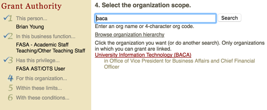 Select the organization scope.