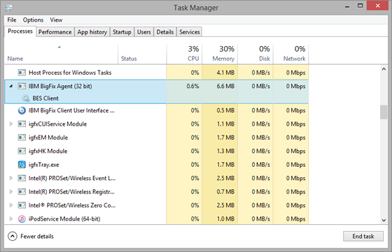 Windows Task Manager list of processes
