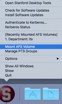 mount AFS volume from Stanford Desktop Tools menu