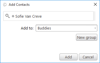 Add Contacts pop-up box