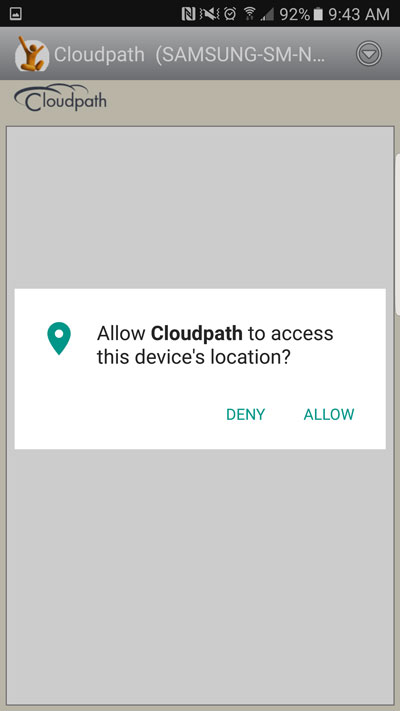 how to set up an android device on the stanford secure wireless tap allow to allow cloudpath to access your device s location